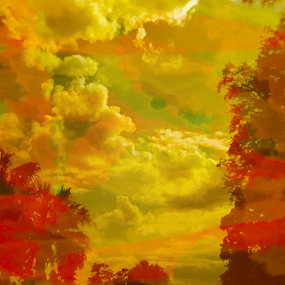 colorful clouds by Edward Gold - Digital Art Things ( digital photography, oranges, green, reds, yellow, clouds, colorful clouds, decorative, digital art,  )