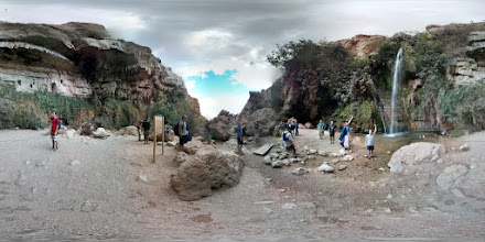 Photo: Ein Gedi - David hid here when Saul was trying to kill him. There's a nice waterfall, and everything is more green than what we usually see.