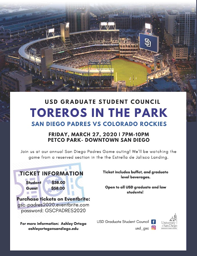 Toreros in the Park, Friday, March 27 from 7-10pm, use code GSCPARDRES2020 to purchase tickets