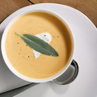 Roasted Butternut Squash Soup with Sage Cream