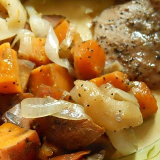 Pork Chops with Apples, Onions, and Sweet Potatoes.