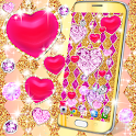 Golden luxury diamond hearts live wallpaper icon