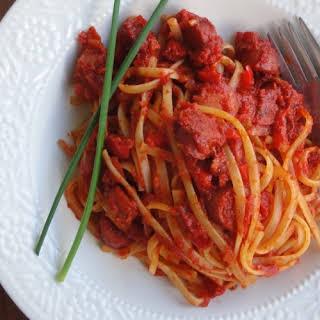 Spaghetti with Hotdogs.