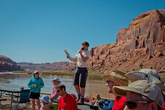 Photo: Jamie introducing the Passover Seder to the group, before the Passover hike to Corona Arch in Moab, Utah.