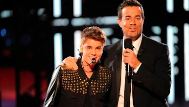 """Photo: THE VOICE -- Episode 215B """"Live Show"""" -- Pictured: (l-r) Justin Beiber, Carson Daly -- (Photo by: Lewis Jacobs/NBC)"""