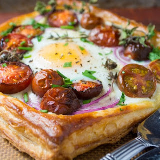 Tomato and Egg Puff Pastry Tarts