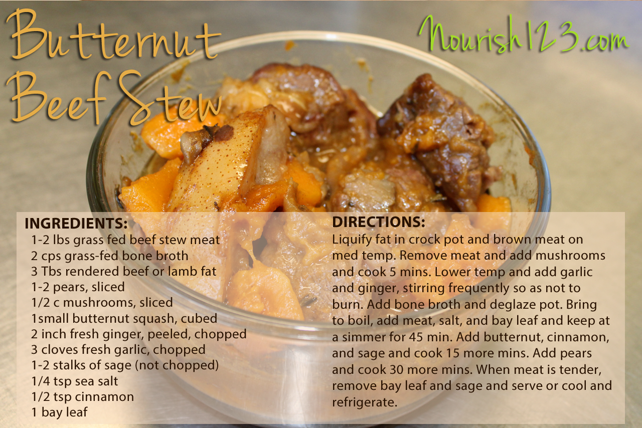 Nourish Recipe Butternut Beef Stew