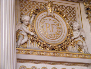 Photo: The RF emblem appears throughout the room, sometimes relatively simply, as here.