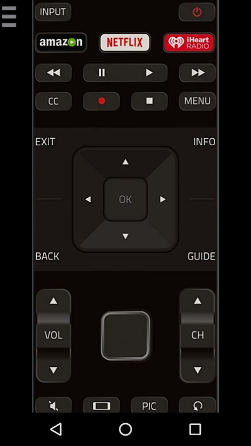 vizio tv menu. vizcontrol - tv remote control for vizio tv- screenshot tv menu