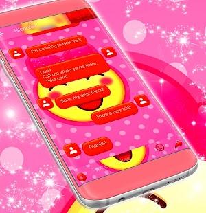 Emoji 2017 Pink Sms Theme - náhled