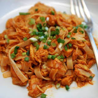 Shredded Red Chicken Curry with Rice Noodles.