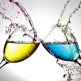 Water off two glasses by Peter Salmon - Artistic Objects Glass ( colour, water, splashing, glasses, glass )