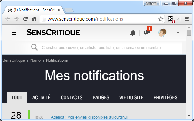 SensCritique Notifier