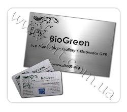 Photo: Корпоративная продукция для BioGreen (экологическая экспертиза, георадар).  Табличка из металлизированного пластика с гравировкой, визитки из металла, сублимационная печать
