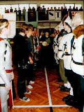 Photo: Swieto Patrona Szkoły, kanonik Długosz (K.Moskowczenko) ogłasza początek bitwy (meczu) pod Grunwaldem, 21.03.2000 r.