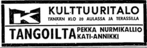 Tangoilta - Hesarin mainos 24.9.1969