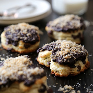 Dark Chocolate Heart Scones with Chocolate Ganache & Toasted Coconut