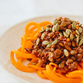 Spiralized Butternut Squash with Curried Lentils and Pumpkin Seeds