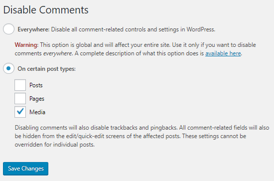 Disable comments for attachments