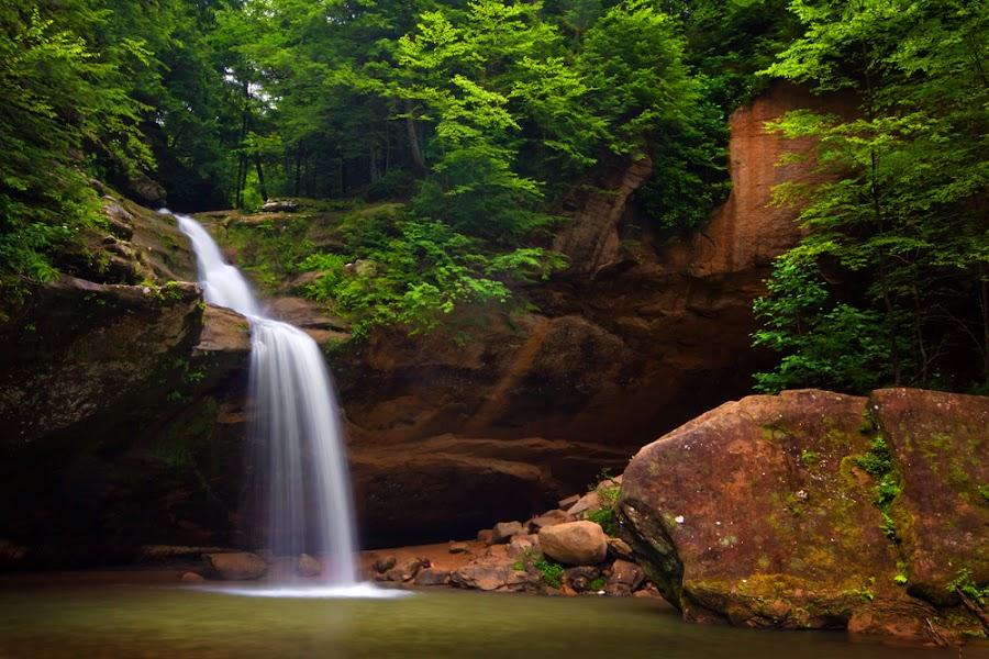 Lower Falls by Patrick Morgan - Landscapes Travel ( water, waterfalls, trees, hocking hills, old mans cave )