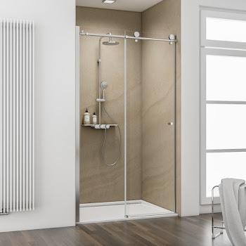 Porte de douche coulissante en niche, poignée bouton, 100, 120, 140 ou 160 cm