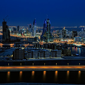 Manama by Night by Tyrone de Asis - City,  Street & Park  Vistas ( manama by night, manana, tary, bahrain, long exposure, landscape, city )