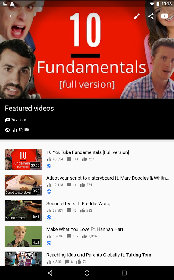 Screenshots of YouTube Creator Studio for Android