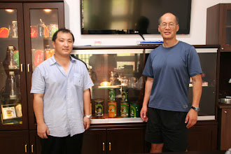 Photo: Tea Shen, son of the inventor of the Piao I teapot and Travel Buddy tea infuser, and member of management, and Larry.