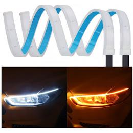 Set 2 benzi LED Matrix 30 cm, flexibile, pentru faruri - alb si galben