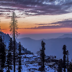 Twilight Winters by Fateen Younis - Landscapes Sunsets & Sunrises ( hills, winter, sunset, snow, twilight,  )