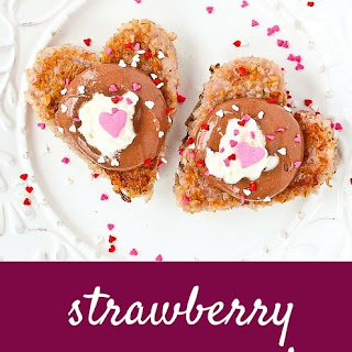 Heart Shaped Strawberry Steel Cut Oatmeal Recipe with Chocolate Topping