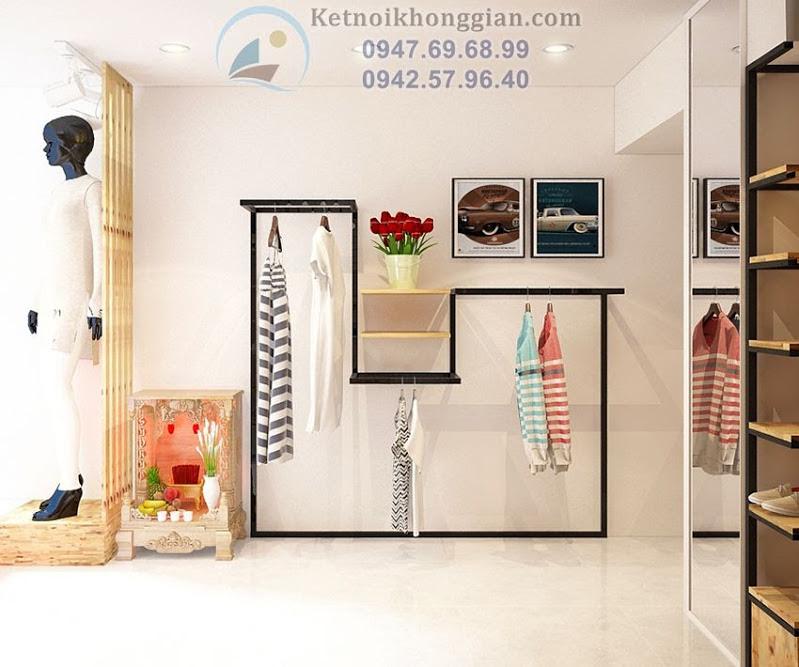 thiết kế shop thời trang tinh tế có điểm nhấn