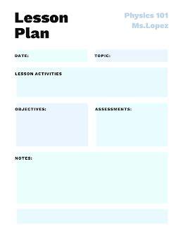 Physics Lesson Plan - Lesson Plan item