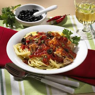 Spaghetti with Tuna and Olive Sauce.