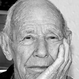 Sad by Pieter J de Villiers - Black & White Portraits & People