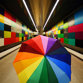 The right umbrella by Stefano Landenna - Artistic Objects Other Objects ( munchen, subway, colors, umbrella, underground, rainbow )