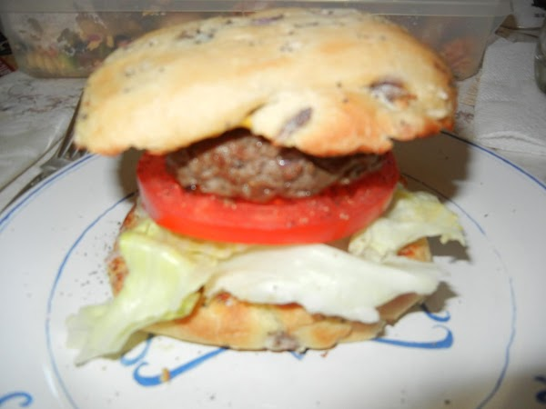 Take buns off the grill.  Top with your faviorite toppings.  I used...