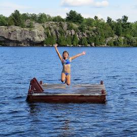 The Big Jump by Janet Herman - Babies & Children Children Candids ( summer, children, candid, fun, dock, swimming, jump,  )