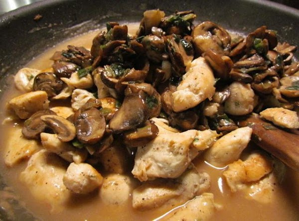 This should be fairly thin. Add your chicken and mushroom mixture.