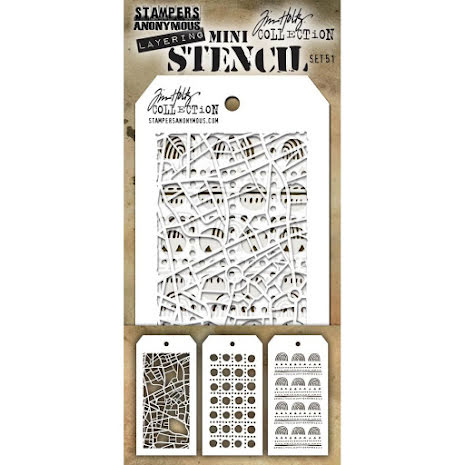 Tim Holtz Mini Layered Stencil Set 3/Pkg - Set 51