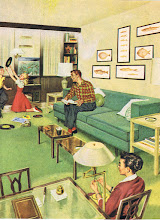 Photo: Who picked out all the fish prints on the wall? Dad looks like the fishing type, mom sits doing needlepoint