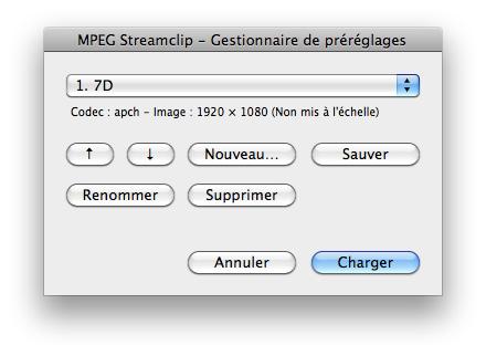 MpegStreamclip - Pré-réglages