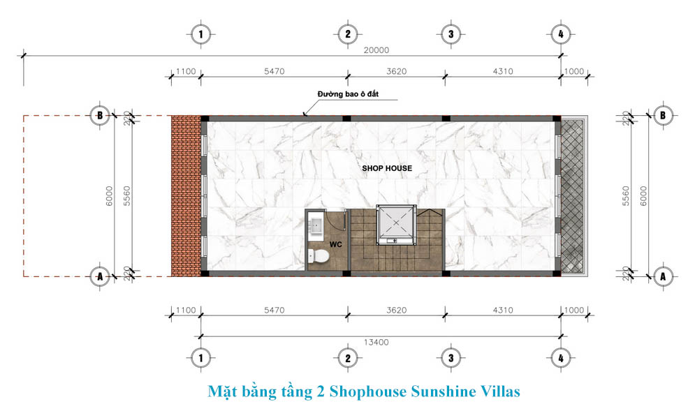 tầng 2 shophouse sunshine wonder villa