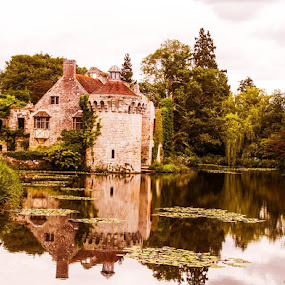 Scotney Castle by Tony Ripacandida - Buildings & Architecture Decaying & Abandoned ( pond, kent, mirror, castle, reflection, water lilies, old, water, trees, peaceful )
