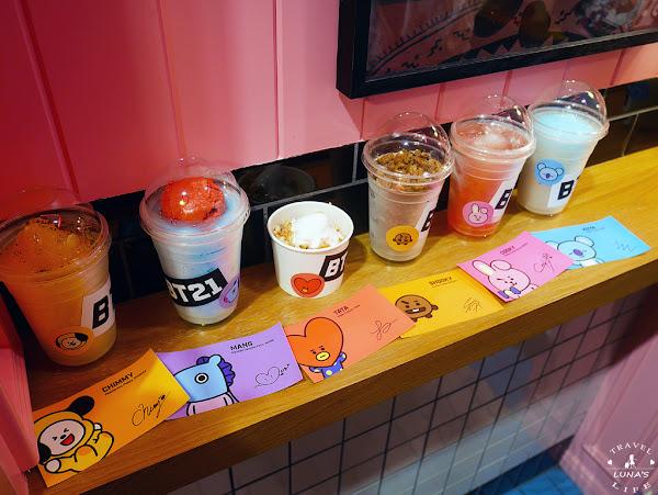 BT21 x LINE FRIENDS Cafe 夏日限定飲品☼☼ 海外第一間就在台灣台北信義新光三越A11店!! ARMY們準備排隊了 活動只到10月底喔!!