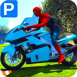 Superheroes Bike Parking: Super Stunt Racing Games