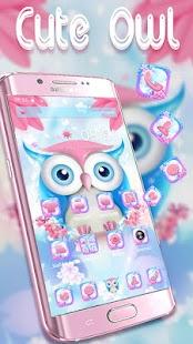 Pink Owl Anime Cute Launcher Theme - náhled