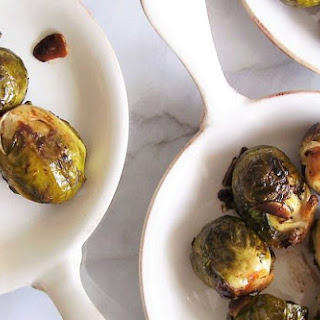 Balsamic Glazed Brussels Sprouts with Garlic.