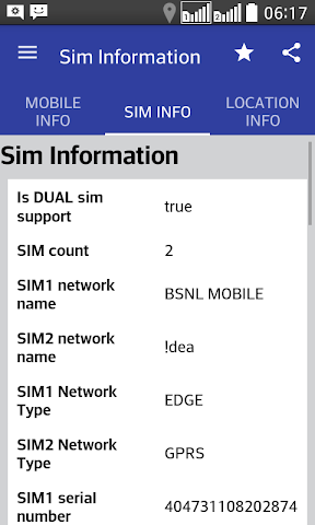 android Mobile,  SIM and Location Info Screenshot 1