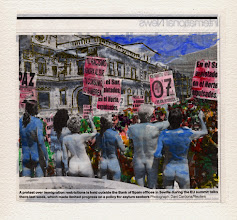Photo: A Protest Over Immigration Restrictions Is Held Outside The Bank Of Spain. Watercolor and gold leaf on newspaper, (155 x 150 mm).